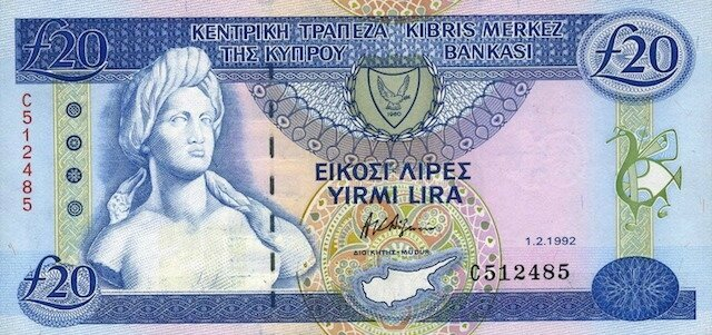 Cyprus-currency-20-Cypriot-pounds-banknote