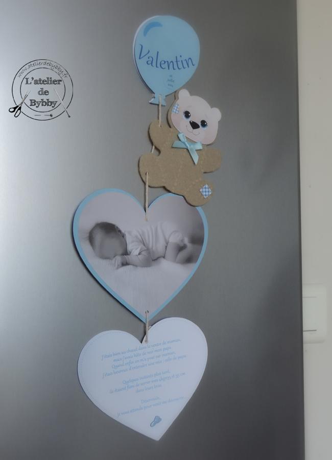 Souvent Faire-part de naissance aimanté - Ourson - L'atelier de Bybby ML72