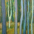 Forêt #50, 2012, pastel à l'huile, 13 x 13 cm