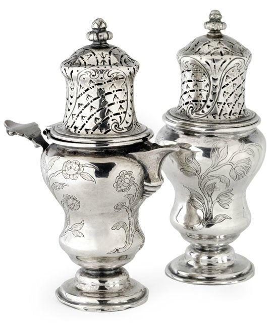 A Rococo silver sugar sprinkler and a matching cream jug, Augsburg, 1749-50, maker's mark of Gottfried Batermann