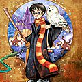 proposé par Illustration Harry Potter : Marque-page - le coffre de Scrat et Gloewen, couture, lecture, DIY, illustrations...