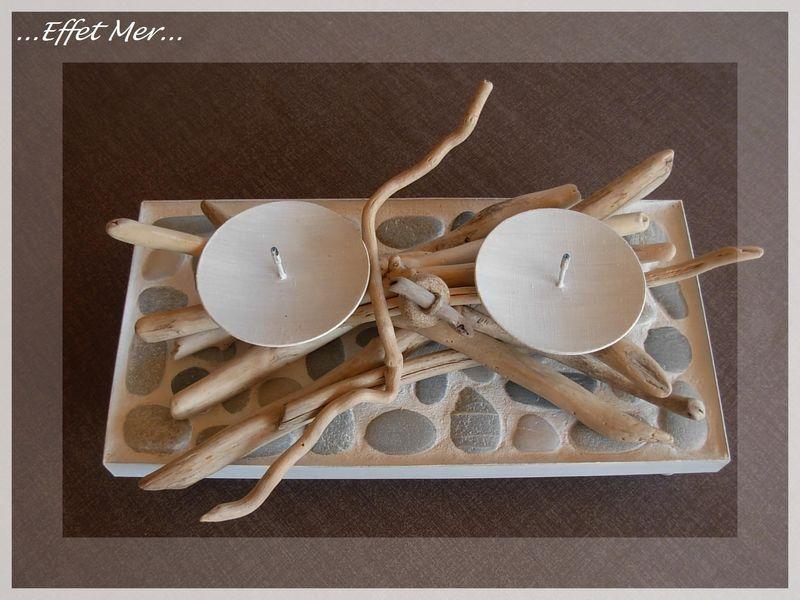 Bougeoir galets et bois flott s bois effet mer for Bougeoire en bois flotte