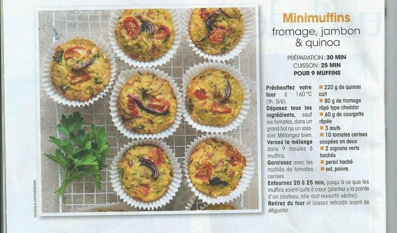 Minimuffins fromage, jambon et quiona