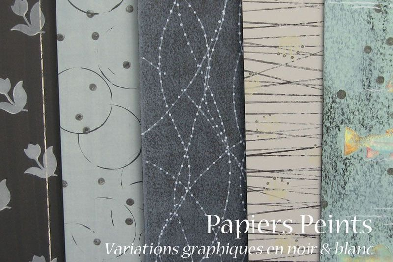 papiers peints variations graphiques en noir et blanc atelier cadrat. Black Bedroom Furniture Sets. Home Design Ideas