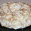 Angle cake citron framboises meringué