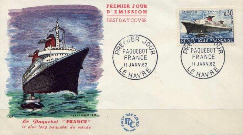 Enveloppe 1er Jour Le France 11 janv 1962