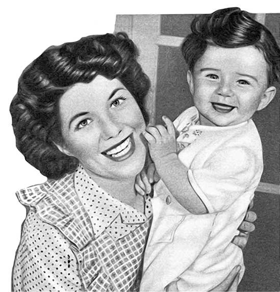 60s child and mother