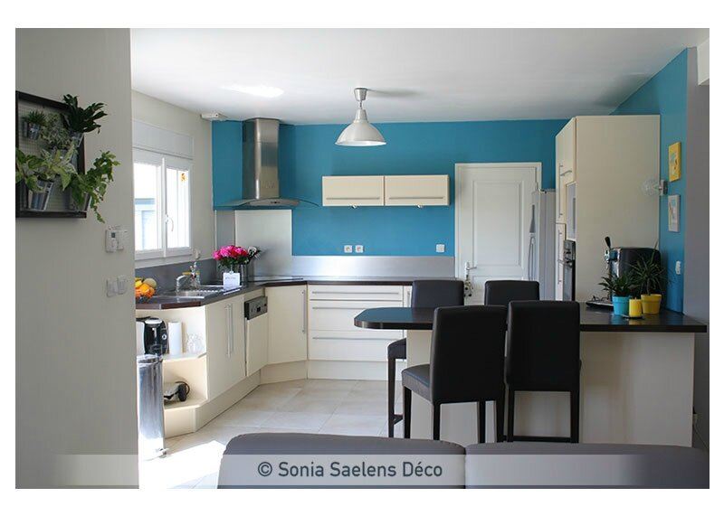 Awesome Cuisine Bleu Turquoise Et Blanc Contemporary ...
