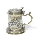 A 17th century swiss silver tankard, stamped twice with maker's mark a cross(?) flanked by rw