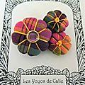 ♥ florbella ♥ broche textile japonisante fleurs potirons - les yoyos de calie