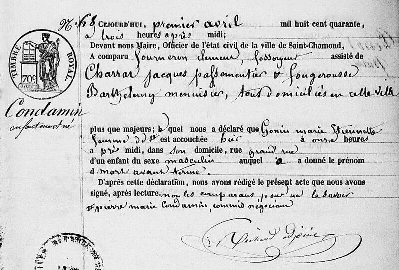 mort-né Condamin 1840