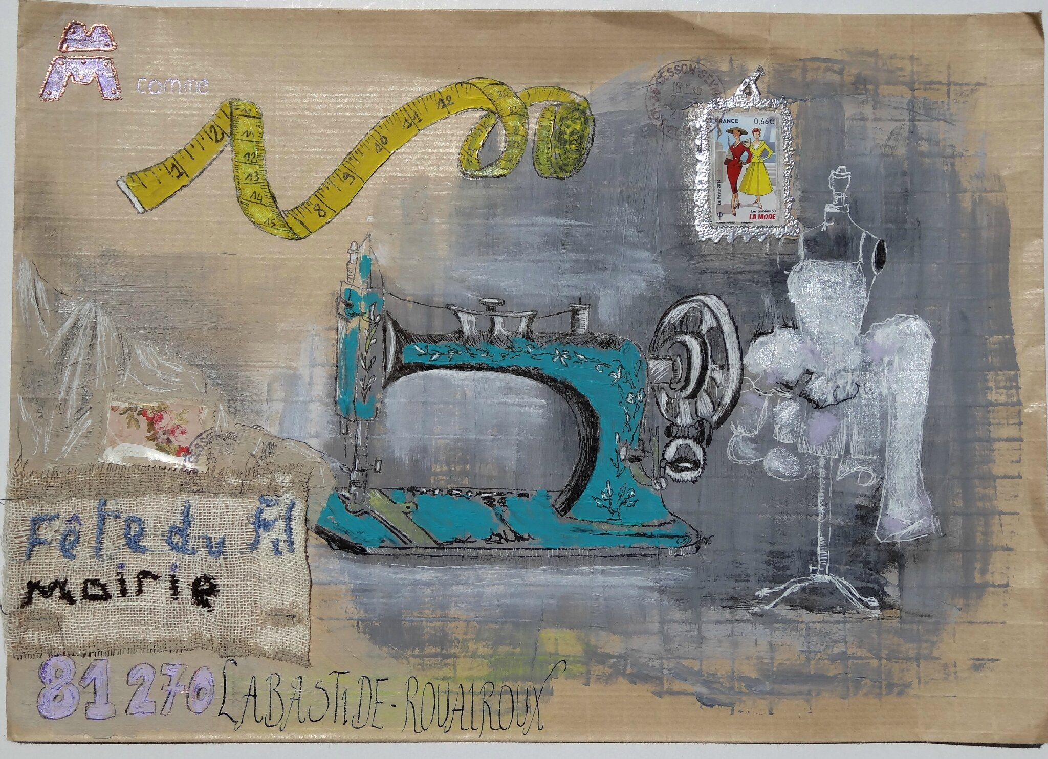 Bongibault christine m art postal fête du fil 2015