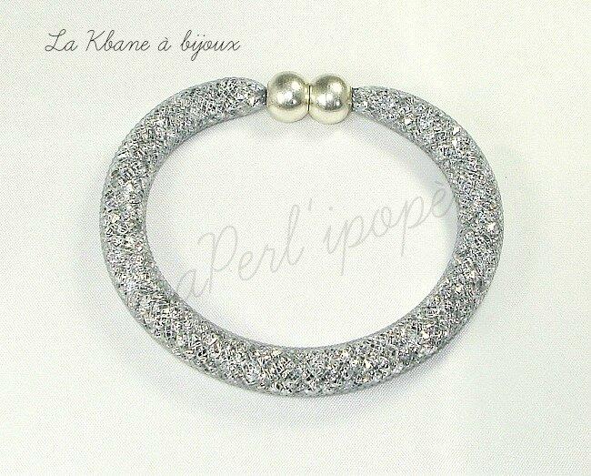 bracelet poussières d'étoiles gris large 8 mm 1sere photo