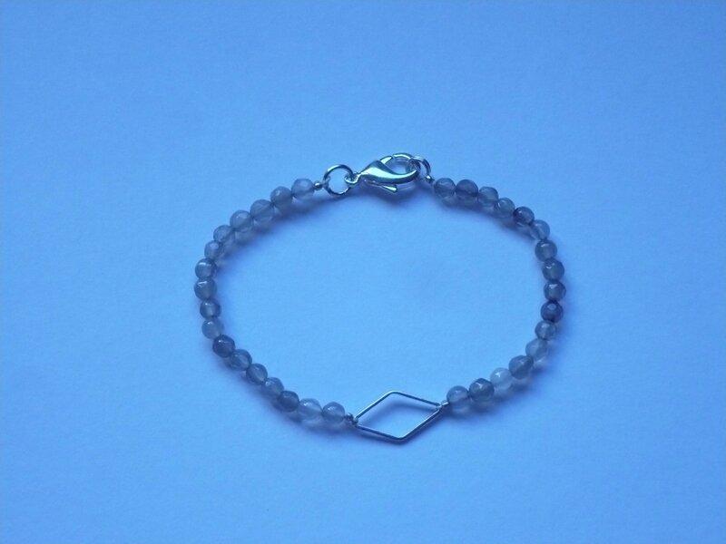 Bracelet pierres grises losange
