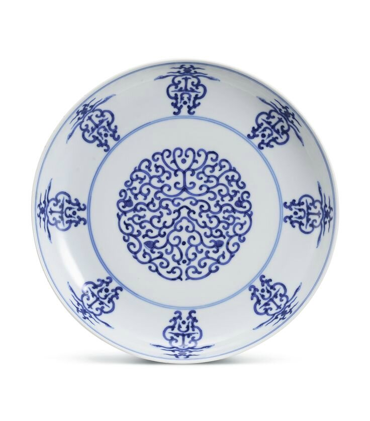 A large blue and white 'Ruyi Scroll' dish, Mark and period of Xuantong