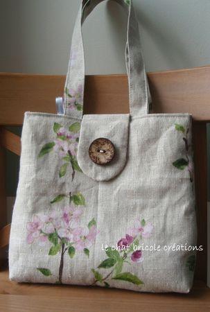 sac à main en lin fleur