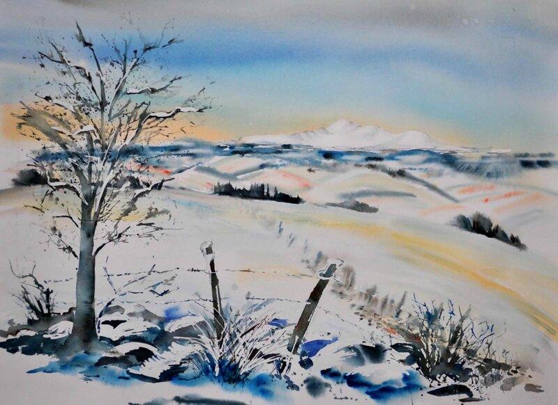 Maithé André aquarelle Le-Sancy-en-hiver-copie-1