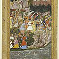 A princely youth with his hands bound is rescued from a well by a band of angels. shah jahan period, c. 1640
