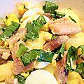 Salade tiède pommes-de-terre, maatjes et ail des ours