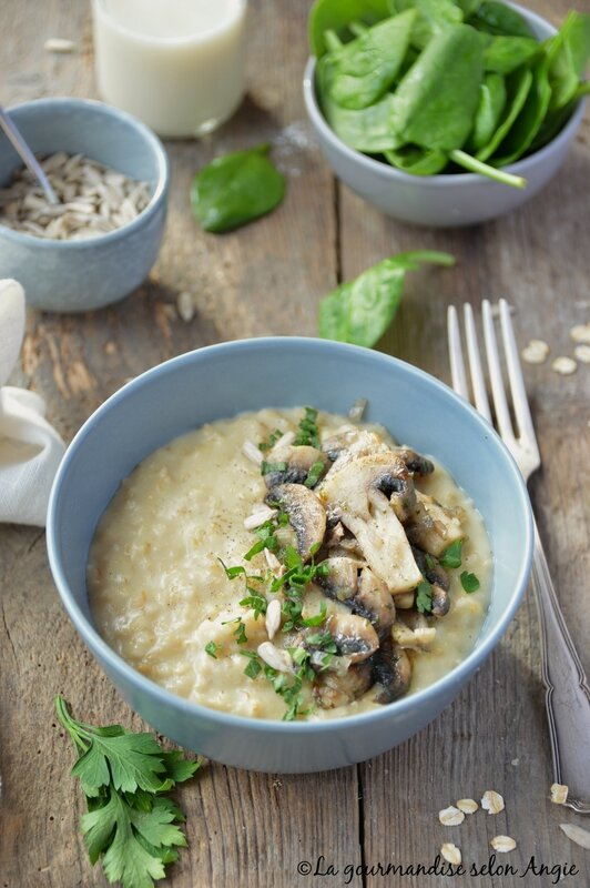 porridge champignons vegan avoine