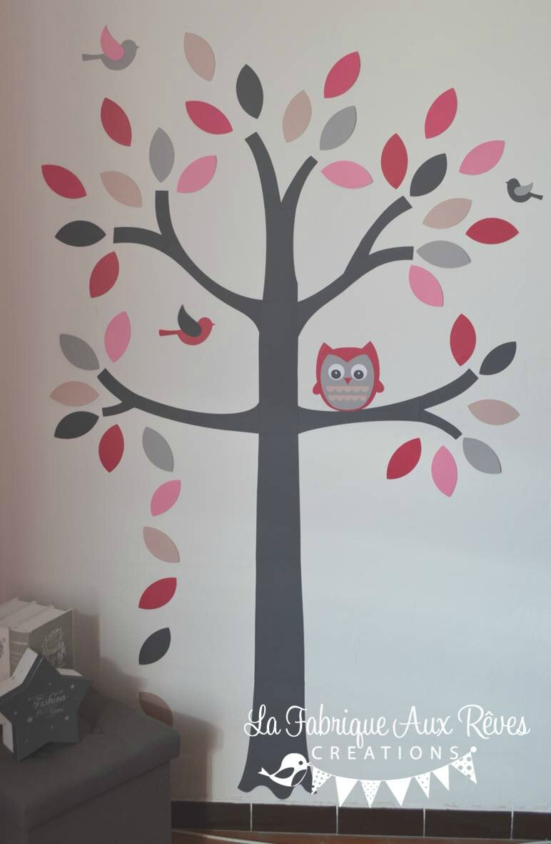10 stickers arbre hibou oiseaux toiles papillons album photos gigoteuse et tour de lit - Decoration hibou chambre bebe ...