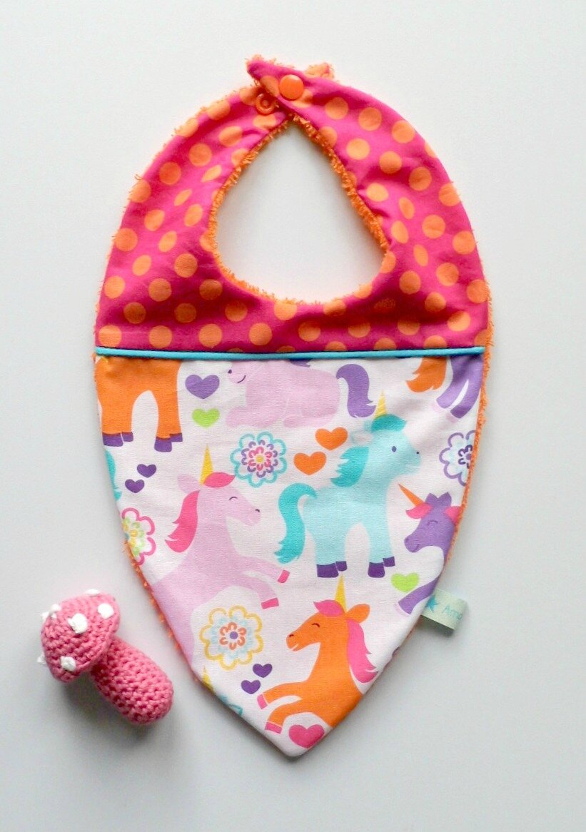 Big bandana licornes pois orange et fuchsia