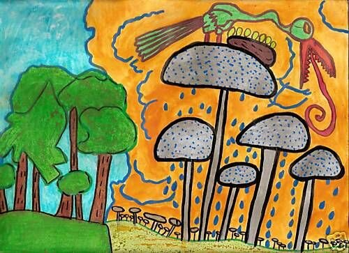 SIMO THE BIRD AND THE MUSHROOMS mai 2009 9 inch x 12