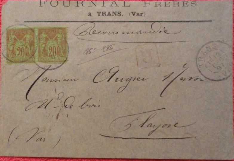 Enveloppe Fournial Frères 1887