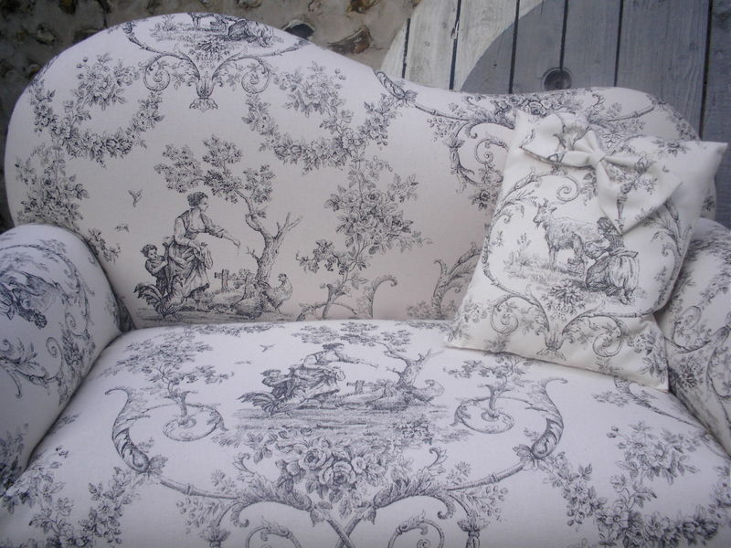 petit canape toile de jouy pour enfant sage deco passion sol 39 n. Black Bedroom Furniture Sets. Home Design Ideas