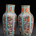 Paire de vases balustres facetts enporcelaine  dcor  Mandarin .Chine, Dynastie Qing, poque Qianlong (1735-1796) 