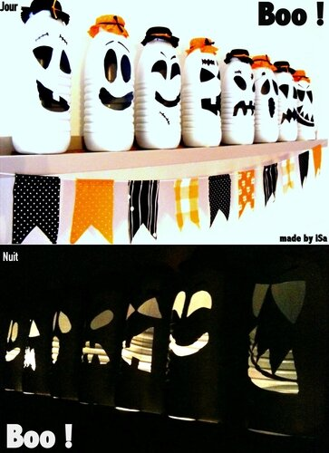Recyclage Bouteille Lait: photophores HALLOWEEN