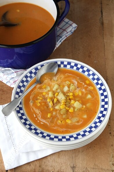 recette soupe de pomme de terre au mais 0003 LE MIAM MIAM BLOG