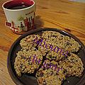 Biscuits avoine, beurre de cacahuète, chia et pépites de chocolat