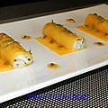 Canellonis de mangue au crabe, vinaigrette acidulée aux fruits de la passion