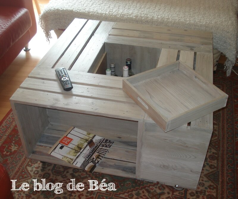 Table basse avec des caisses id es maison - Table basse faite maison ...