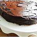 Génoise vanille, nappage fondant au chocolat