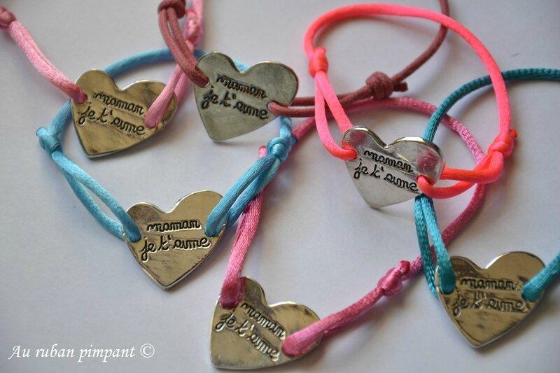 Bracelets coeur maman je t'aime