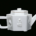 A Blanc de Chine porcelain teapot with relief Buddha and symbols, Dehua, Qing Dynasty, end 17th century