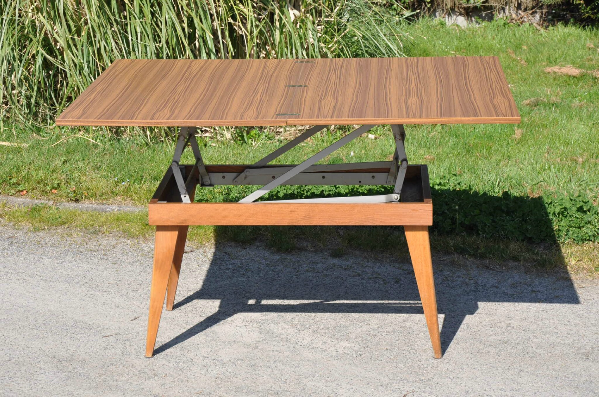 Table transformable vintage article vendu antiquit s - Table basse transformable en table haute ...