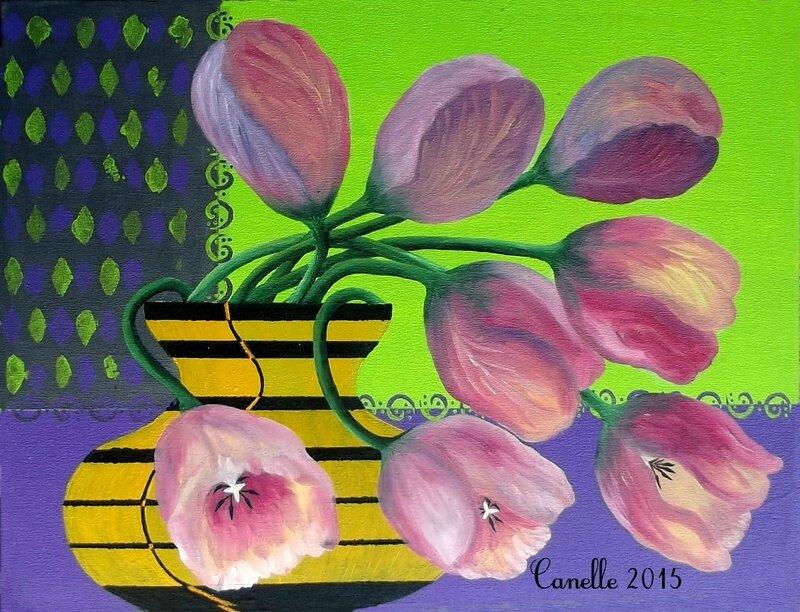 053 - Tulipes au vase taille d'abeille