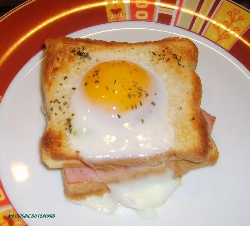 Croque madame au ch vre et basilic ma cuisine du placard - Recette croque monsieur au four ...