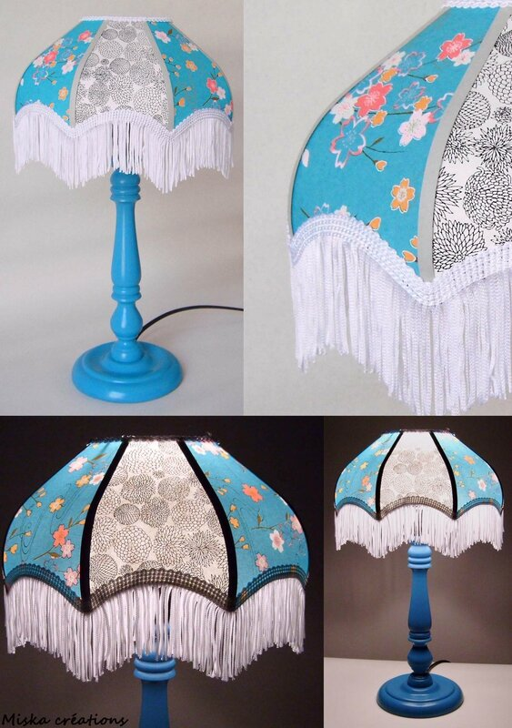 lampe de chevet el onora papier japonais fleurs miska cr ations. Black Bedroom Furniture Sets. Home Design Ideas