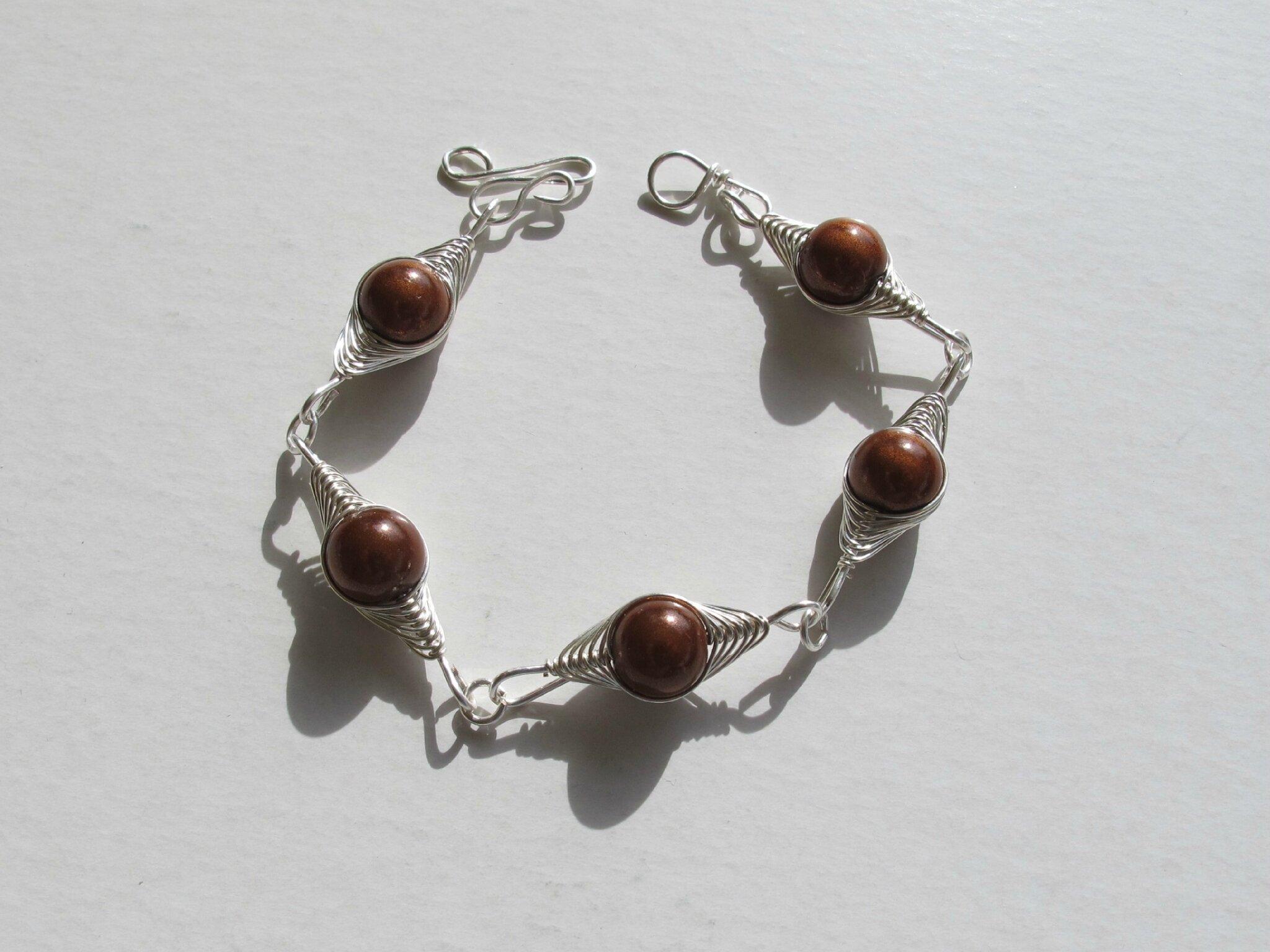 bracelet wire perles marron