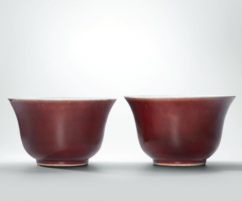 A pair of large red-glazed bell-shaped bowls, Qing dynasty, 18th century