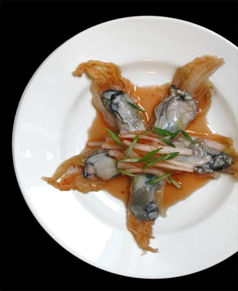 Salade kimchi instantané aux huîtres crues