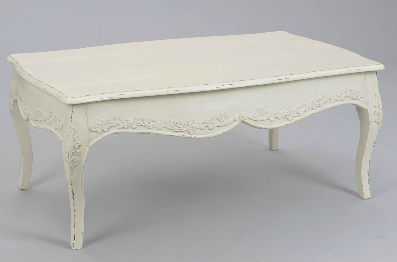 Table blanche pour un salon shabby chic meubles et for Kreabel table de salon
