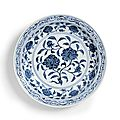 A fine large blue and white 'roses' dish, ming dynasty, yongle period (1403-1425)