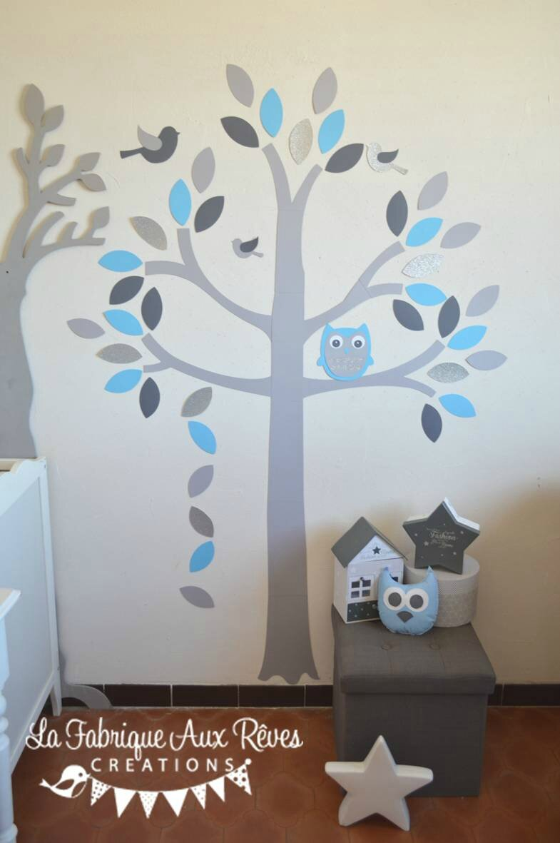 stickers arbre gris bleu ciel chaud argent hibou chouette oiseaux feuilles d coration chambre. Black Bedroom Furniture Sets. Home Design Ideas