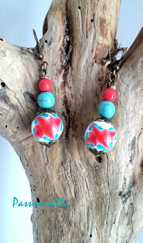 boucle oreille ethnique perle fimo turquoise rose