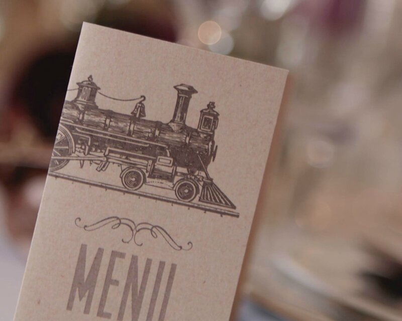 faire-part billet de train zoom sur le menu